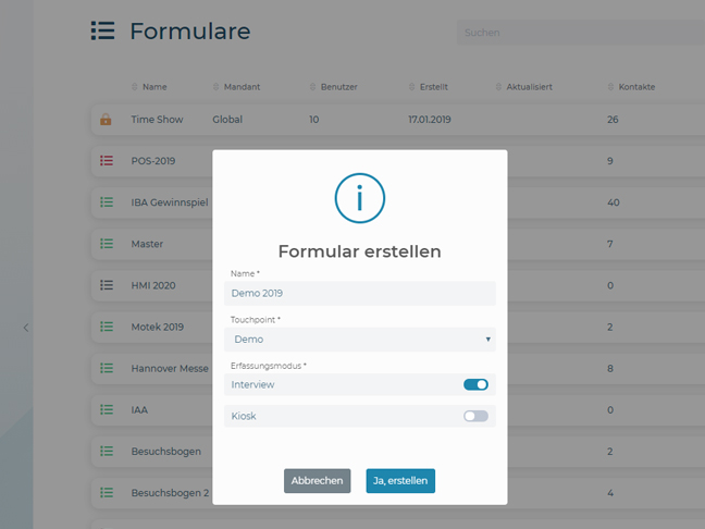 Screenshot entergon-Suite create formular and questionnaire